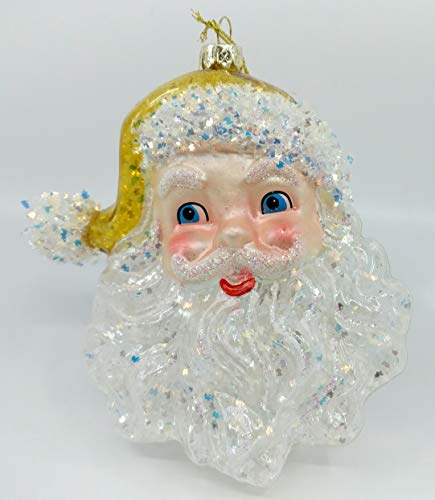 One Hundred 80 Degrees 5.5″ Large Cheerful Santa Claus Father Christmas Clear Snowflake Christmas Tree Ornament (Yellow)