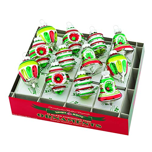 Christopher Radko Decorated Shape Red Green Silver 2 inch Glass Holiday Ornaments Box of 12