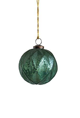 Creative Co-op Green Glass Ball Ornament, 4″, Aqua