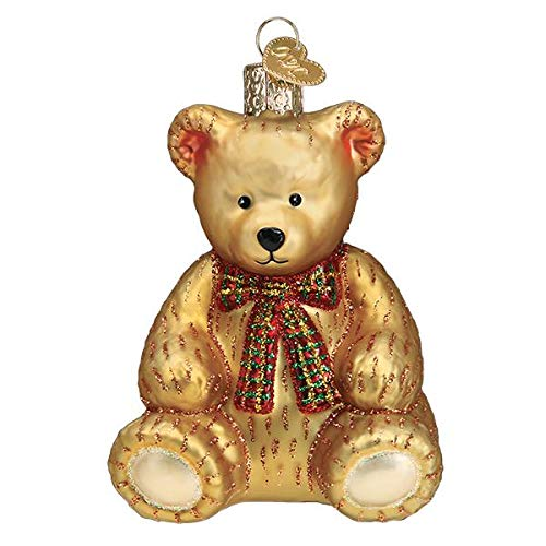 Old-World Christmas Glass Blown Ornament with S-Hook and Gift Box, Toy and Hobby Collection (Teddy Bear, 12543)