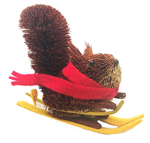 Holiday Lane Bristle Brush Buri Holiday Christmas Ornament, Skiing Squirrel