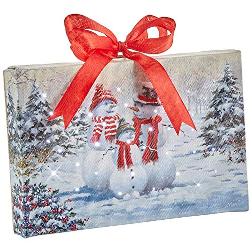Raz Imports Snowman Family Lighted Print Ornament with Easel Back 6″L X 1″W X 6″H
