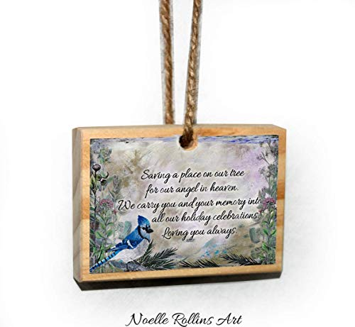 Blue Jay remembrance wood Christmas ornament