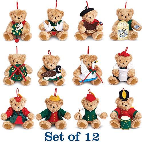 Vermont Teddy Bear Christmas Ornaments – 12 Days of Christmas Ornaments, 4 Inch