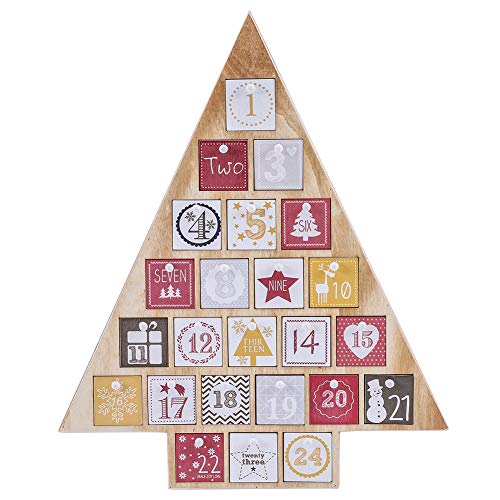 Juegoal Countdown to Christmas Calendar 2019 Nature Wooden Tree Shape Advent Calendar with 24 Storage Drawers, for Kids, 15″ Tall