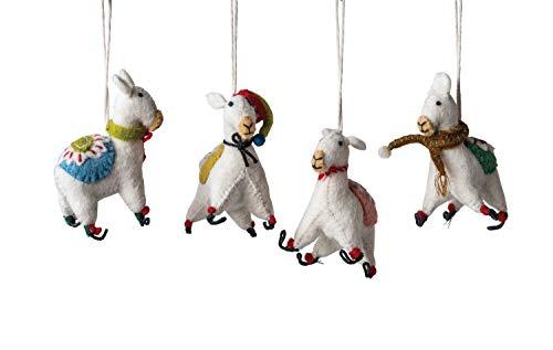 Creative Co-op Wool Felt Llama (Set of 4 Styles) Textile Ornaments, White