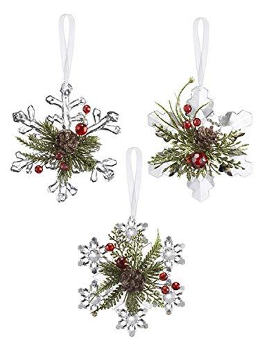 Ganz Mistletoe Krystal Pine Snowflakes (Set of 3)