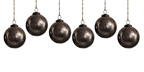 Creative Co-op Medium Black Oxidized Sand Ball, Set of 6 Glass Ornaments, Silver