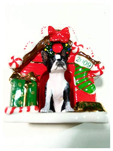 Boston Terrier Dog House Ornament, Danbury Mint 2009