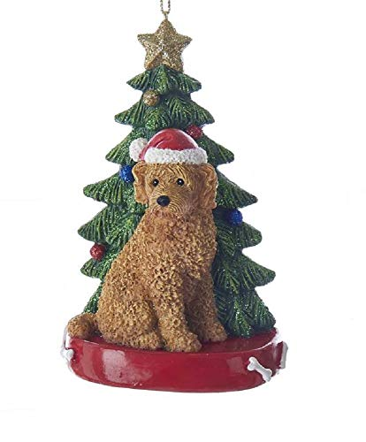 Kurt Adler 4-Inch Labradoodle with Christmas Tree Ornament Caramel Brown