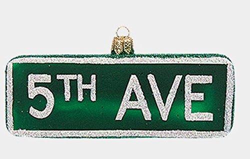 Pinnacle Peak Trading Company 5th Avenue Fifth York City Street Sign Glass Christmas Ornament Decoration