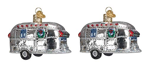 Old World Christmas Ornaments: Vintage Trailer Glass Blown Ornaments for Christmas Tree (2-Pack)