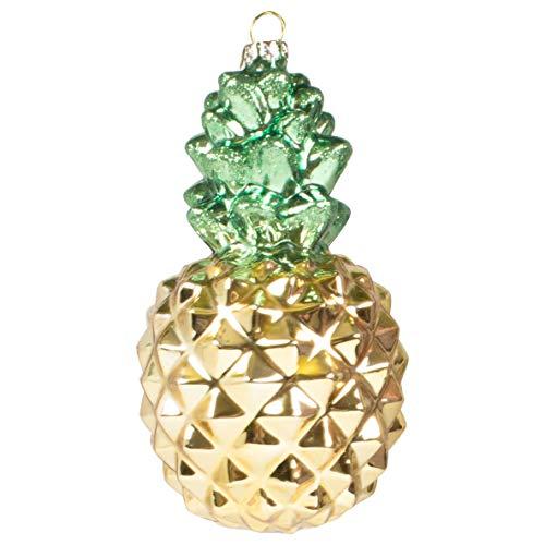 8 Oak Lane Goldtone Green Pineapple 3 x 3 Glass Decorative Hanging Ornament