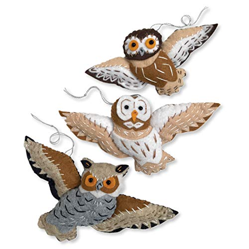 Heidi Boyd | Great Horned, Barn and Saw-Whet Owl Ornaments Kit | Elegant Handmade Felt Ornaments Add Wild Beauty to Your Tree | All Inclusive Felt Craft Sewing Kit Age 13