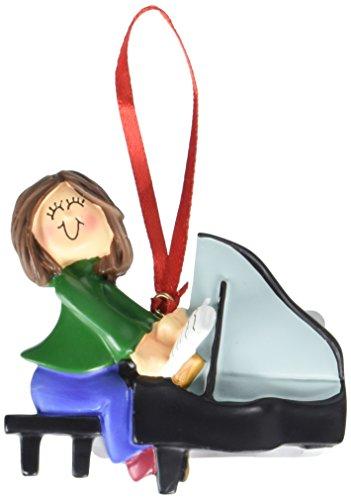 Ornament Central OC-122-FBR Female Piano Player Figurine
