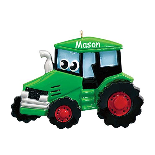 Rudolph and Me Personalized Green Tractor Toy Character Christmas Ornament Tree Decoration with Custom Name