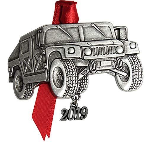 Gloria Duchin 2019 Military Pewter Christmas Tree Ornaments. Various Styles for Army, Navy, Marines and Air Force (Humvee)