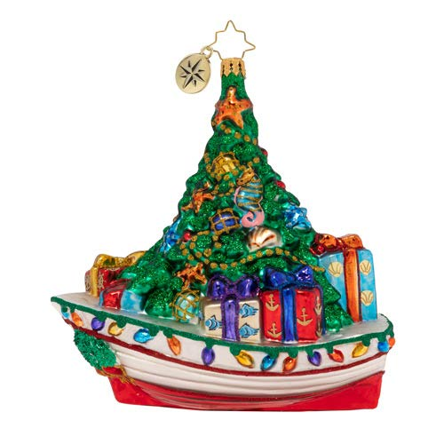 Christopher Radko Riding The Waves Christmas Ornament, Green