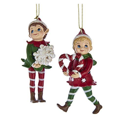 Kurt Adler Set/2 Santa Claus Retro Workshop Elf Elves Christmas Decor Ornaments
