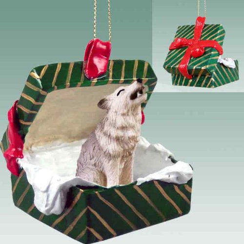 Conversation Concepts Gray Wolf Gift Box Christmas Ornament – Delightful!