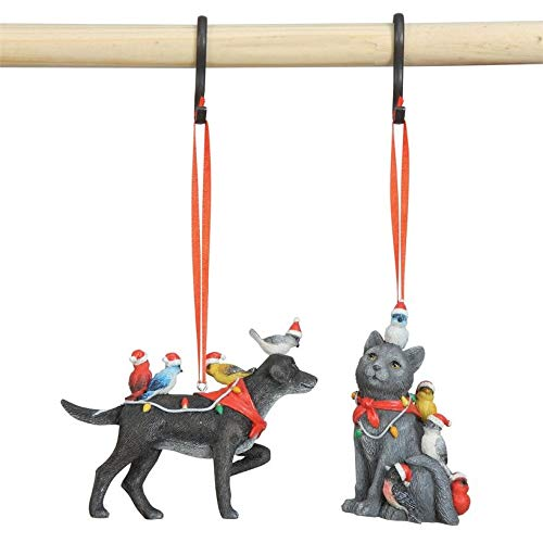 Creative Co-op Cat and Dog Animal with Santa Birds Christmas Tree Ornament Set