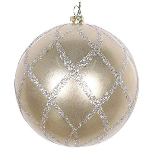 Vickerman 613825-6″ Champagne Candy Glitter Net Ball Christmas Tree Ornament (2 pack) (MT198238D)