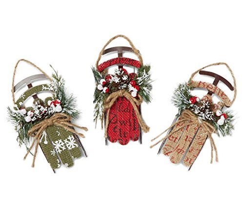 Holiday Winter Wonder Lane Red Rustic Burlap Sleigh 3-Piece Ornament Set | Indoor Seasonal Decorations for Christmas Tree