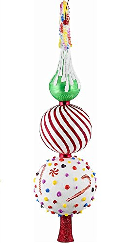 Joy To The World Glitterazzi Candy Theme Finial Polish Glass Christmas Tree Topper 16 Inch New