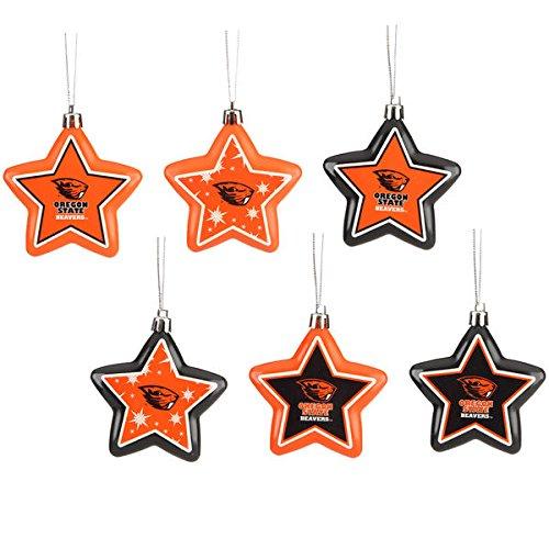 Oregon State Beavers 6-Pack Shatterproof Star Ornament Set
