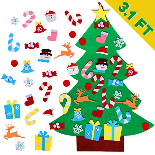 AerWo DIY Felt Christmas Tree Set for Toddlers + 26pcs Detachable Ornaments, Kids Wall Hanging Xmas Gifts for Christmas Decorations