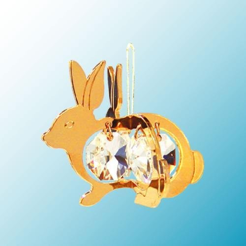 24K Gold Plated Hanging Sun Catcher or Ornament….. Rabbit with Clear Swarovski Austrian Crystal
