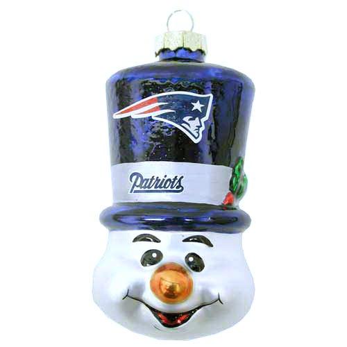 NFL New England Patriots Blown Glass Top Hat Snowman Ornament