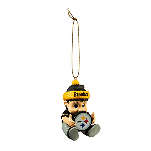 Team Sports America NFL Pittsburgh Steelers Remarkable Adorable Lil Fan Christmas Ornament – 2″ Long x 2″ Wide x 3″ High