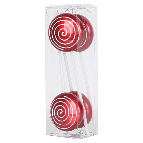 Vickerman Candy Finish with Iridescent Glitter Swirl Lollipop Christmas Ornaments, 4 per Box, 10″, Red/White