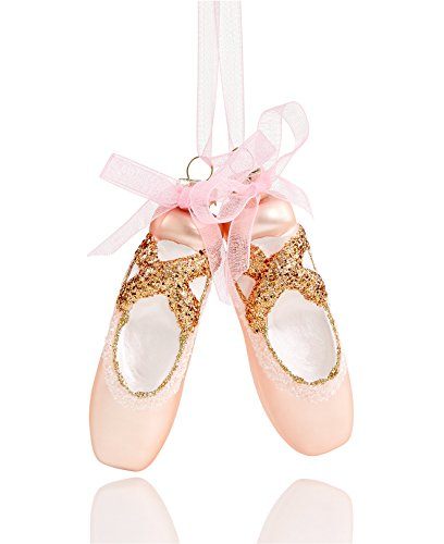 Holiday Lane Pink Glass Ballet Slippers Christmas Ornament on Pink Ribbon