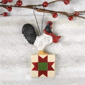 Blossom Bucket 198-50004 Rooster ON Quilt Block Ornament, Small, Multi-Colored