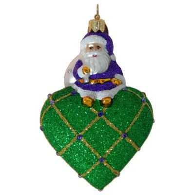 Landmark Creations A Little Gem! to New Orleans with Love – Emerald European Blown Glass Christmas Ornament Celebrates New Orleans!