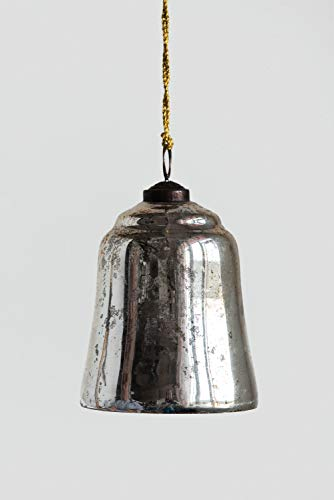 Creative Co-op Antique Copper Bell Glass Ornaments, Silver