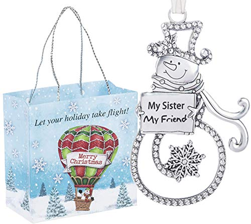 Ganz U.S.A., LLC Swirls of Christmas Snowman Ornaments My Sister My Friend Double Sided for Holiday Christmas Tree Decor Sister Gifts from Sister 2019 Presented in a Holiday Bag with a Snowman