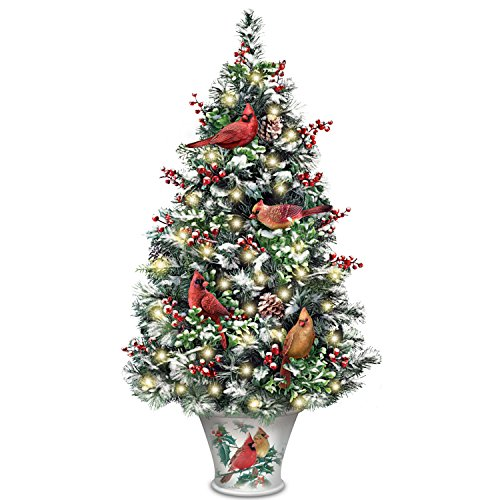 The Bradford Exchange Winter's Beautiful Blessings LED-Lighted Christmas Tabletop Tree with Cardinals