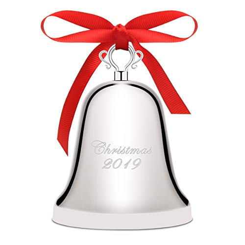 Luxiv Annual Christmas Bell 2019, Silver-Plated Bell Ornament for Christmas Anniversary Bells with Gift Box and Red Ribbon (Silver-Plated, 2019)