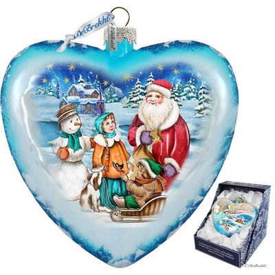 G. Debrekht Limited Edition Holiday Trip Glass Heart Ornament, 5.5″