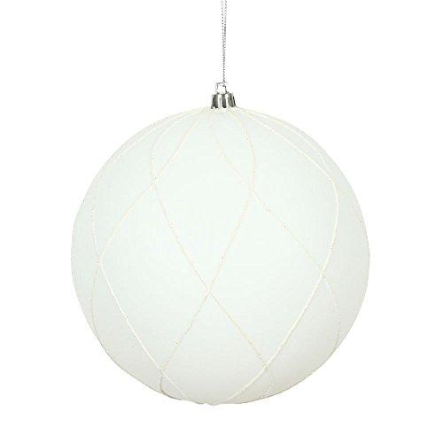 Vickerman 471180 – 4″ White Matte and Glitter Swirl Ball Christmas Tree Ornament (4 pack) (N170611D)