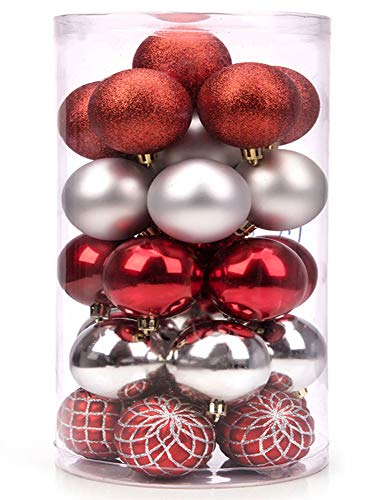 SANNO 30Pcs Christmas Balls Ornaments for Xmas Christmas Tree Glitter and Shiny Shatterproof Christmas Tree Decorations Hanging Ball for Holiday Wedding Party Decoration