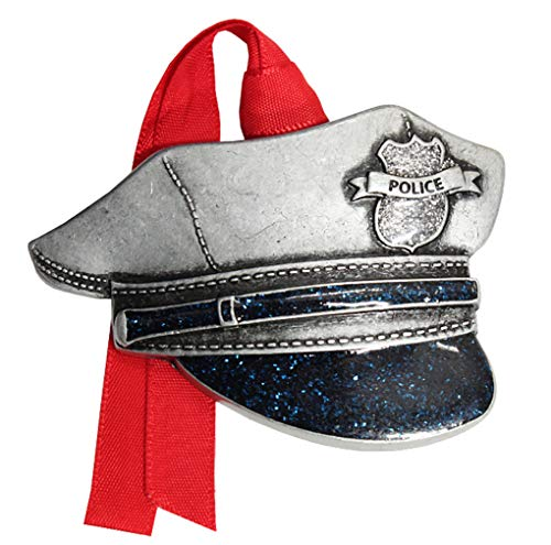 Gloria Duchin 2019 First Responders Pewter Christmas Tree Ornaments. Various Styles for Police, Firefighters and EMT's (Police Hat)