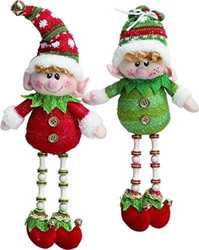 Santas Elves Set of Two 12-inch Plush Hanging Christmas Ornament