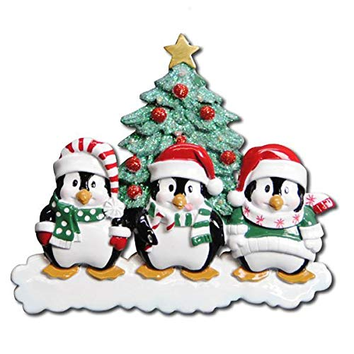 Polar X Winter Penguins Family 3 Personalized Christmas Ornament