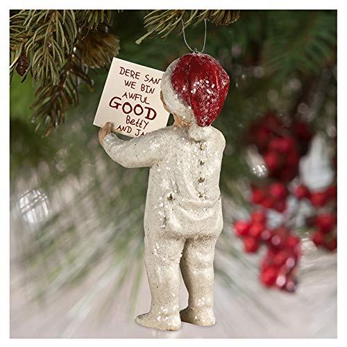 Bethany Lowe Bin Awful Good Boy Christmas Tree Glitter Ornament Retro Vintage Decor