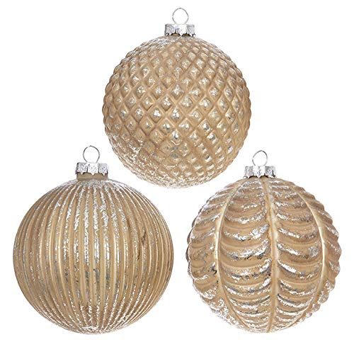 Set of 3 Raz 4″ Gold Patterned Glass Ball Christmas Ornament 3822989