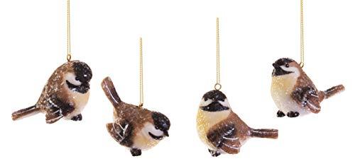 RAZ Imports Wintry Resin Chickadee Bird Ornaments – Set of 4